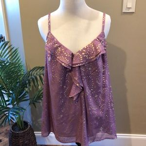 Ann Taylor LOFT. Size Large. Purple and gold cami